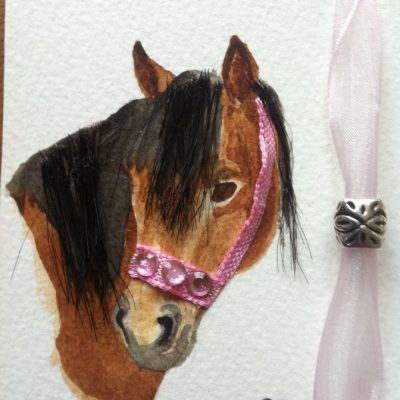 Miniature hand painted and embellished pony